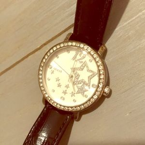 Guess Leather Interchangeable Band Star Watch